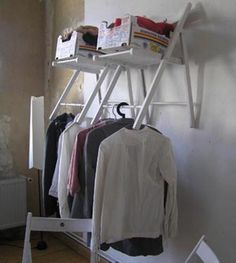 Reuse old foldable chairs as a storage shelf hanger for books and clothes.