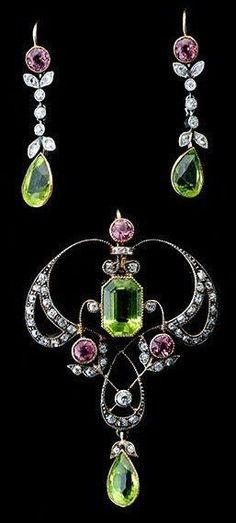 Peridot amethyst and diamond antique set