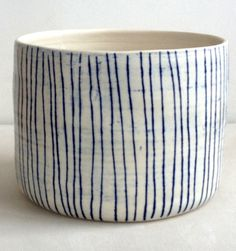 tall porcelain bowl with blue lines by paula greif