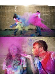 Paintbomb Engagement shoot. Our Favorite Engagement Photo Ideas