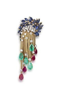 A diamond, emerald, ruby and sapphire brooch, by Marchak,