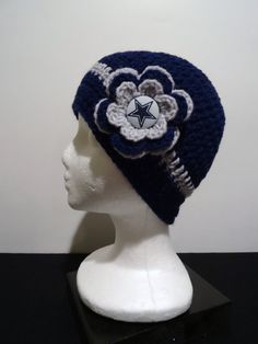 Dallas Cowboys Crocheted Beanie with Flower by OliviaRyanbyDGuess, $20.00