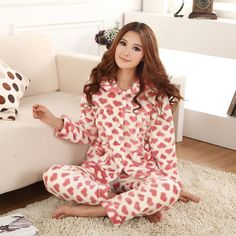 0aa9d26c3f women s flannel pajama sets thickening coral fleece sleepwear heart print  thermal sleepwear  flannelpajamasforwomen Cute Sleepwear