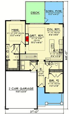 Plan Cozy 2 Bed House Plan With Screened Porch 2 Bed House, House With Porch, Cozy House, Small House Plans, House Floor Plans, Micro House Plans, Bed Design, House Design, Condo Design