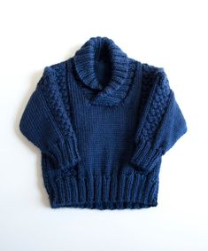 Knit baby sweater// chunky cable pullover baby toddler sweater in soft navy… Crochet Cowl Free Pattern, Baby Afghan Crochet, Toddler Sweater, Knit Baby Sweaters, Baby Boy Knitting Patterns, Knitting For Kids, Free Knitting, Crochet For Boys, Lana