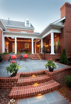 Container Gardening: Best Tips & Tricks - Porch Advice Diy Porch, Diy Patio, Backyard Patio, Patio Decks, Patio Planters, Brick Porch, Brick Patios, Patio Furniture Makeover, Patio Makeover