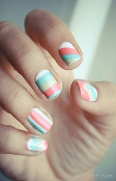 Pastel Stripes #nail #design