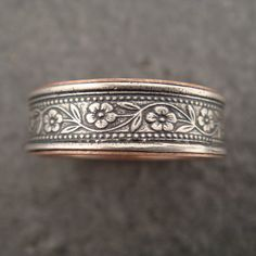 Wedding Ring with 14k Rose Gold Lining  by DownToTheWireDesigns, $275.00