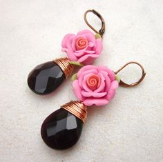 Short-haired women should prefer small earrings. We share with you lovely earrings models, great designs earrings, earrings for women in this article. Amethyst Earrings, Flower Earrings, Women's Earrings, Polymer Clay Flowers, Amethyst Quartz, Small Earrings, Clay Jewelry, Jewellery, Beautiful Earrings