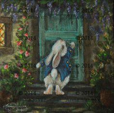 OOAK Bunny White Rabbit Cottage Garden Original Painting Anna Vanover Nfac | eBay