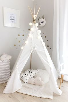 Children's Play Teepee With Festoon Lights - Image Source Unknown