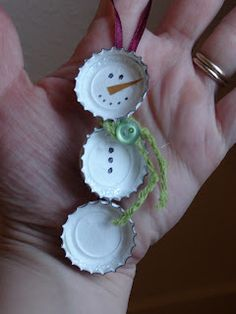 She Who Makes...: Bottle Cap Snowman  @Kelly Obrien (I have bottle caps, jump rings, and small ribbon... if you wanted to do a craft with your kids to do ornaments.)