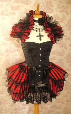 Halloween  BURLESQUE  COSTUME Bustle Skirt  ans Shrug SET goth Steampunk. $85.00, via Etsy.