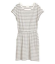 Short-sleeved jersey dress | White/Striped | LADIES | H&M NZ