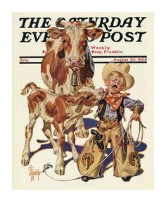 """Little Cowboy Takes a Licking,"" Saturday Evening Post Cover, August 1938 By Joseph Christian Leyendecker Cowboy Art, Cowboy And Cowgirl, Vintage Cowboy Nursery, Western Nursery, Cowboy Bedroom, Jc Leyendecker, Little Cowboy, Saturday Evening Post, Norman Rockwell"