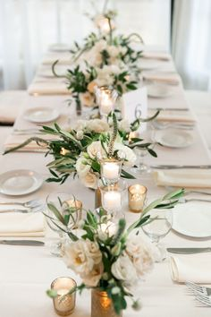 White and gold long wedding table at Latitude 41 in Mystic CT Catering by Coasta. White and gold long wedding table at Latitude 41 in Mystic CT Catering by Coastal Gourmet photo by Stella Blue Photograp. Wedding Table Centerpieces, Wedding Table Settings, Centerpiece Flowers, Centerpiece Ideas, Rectangle Table Centerpieces, Table Flower Settings, Rectangle Wedding Tables, Wedding Floral Arrangements, White Floral Centerpieces