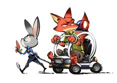 Zootopia fanart by Xinzhou Liao Source As you can see, Judy's Meter Maid Car is versatile ride, with many other uses besides serving as a simple conveya Walt Disney, Disney Films, Cute Disney, Disney And Dreamworks, Disney Pixar, Disney Art, Nick Wilde, Zootopia Judy Hopps, Zootopia Fanart