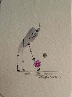 ACEO Original Illustration Stickler Flower Bee Nature Miniature Ink Pink Gray | eBay
