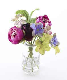 A burst of summer colour - peony tulip and hydrangea posy in milk bottle with faux water Approx 19 cm
