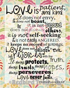 Love is Patient Wall Art Digital Printable 8x10 Bible Verse 1 Corinthians 13:4-8