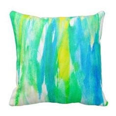 watercolor teal throw pillows | Watercolor Home Decor