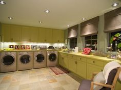 Touch of Green Laundry Room eclectic laundry room - Color, whatever; Multiple Machines - Yes Please!