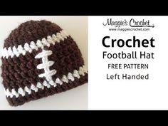 Football Hat Free Crochet Pattern - Left Handed - YouTube