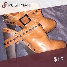 Clogs Camel colored clogs w/metal detail Charlotte Russe Shoes Mules & Clogs