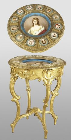 192: Royal Vienna style gilt-wood and porcelain table : Lot 192