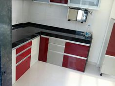 L Shaped Modular Kitchen, Tall Unit, Wall Cabinets, Small Modular Kitchen,  Swarau0027s