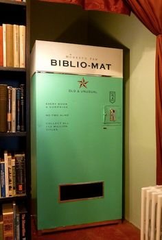 """""""Every book a surprise"""" The Biblio-mat is a vending machine that will deliver a random used book for just two (Canadian) dollars. It was created by Craig Small of Canada-based animation studio, The..."""