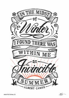 Inspirational quotes: Albert Camus Invincible Summer poster 2