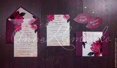 Купить Приглашения в цвете Марсала - бордовый, марсала, приглашения на свадьбу, свадебные аксессуары, пригласительные, приглашение