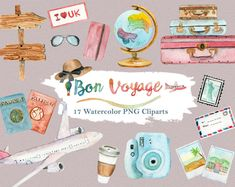 """This is a listing of the """"Bon Voyage"""" watercolor clipart set for personal and commercial use (see shop policies). The set includes 17 elements in png (no background) files at 300 dpi resolution: Watercolor Fruit, Watercolor And Ink, Watercolor Leaves, Pencil Illustration, Graphic Illustration, Watercolor Illustration, Design Illustrations, Mexican Clipart, World Clipart"""