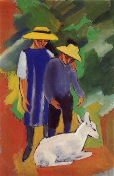 Macke, August: Kinder mit Ziege, kids with goat