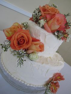 Two-Tier Vintage Iced Wedding Cake @ King Family Vineyard..mine would have purple flowers