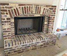 I am so thrilled on how these brick and the design turned out. Well worth the work of cleaning them all. Now Needing to Add a light glaze/smear to the top, going to cut a beam for the mantle and trim the upper half with shiplap. Wishing I had this baby roaring a fire today with the freezing weather. . Up next is the foyer brick archway.  Whoohoo!! #reclaimedbrick #brickfireplace #stuckeybuilthome #homebuilding #customhome #fixeruppersyle #farmhousestyle