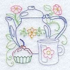 Line Art Tea Pots Embroidery M
