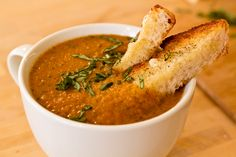 Fiery Roasted Garlic and Tomato Soup.  The most delicious soup ever.  From Tasty Kitchen.