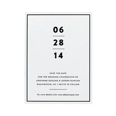 """Brides.com: What Your Save-the-Date Says About You. A Minimalist Save-the-Date Card. What it says about you: """"We like our martinis dry, straight up, and with two olives.""""  You'll dig this if you're planning a modern, urban-chic affair. Two reasons: The clean black-and-white palette and the fact that it cleverly weights the most important piece of information: the date. Purists, rejoice!  Modern wedding save-the-date, from $475 for 100, Bella Figura  See more modern wedding invitations and…"""
