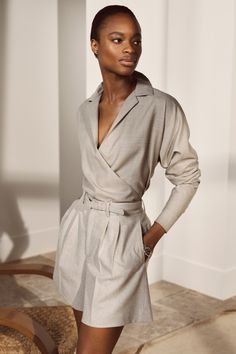 An array of silhouettes are transformed for the coming season. The Libby Wool Twill Wrap Blouse Glenn Wool Flannel Short and feature neutral hues and quality fabrications for sophisticated ease. #RalphLauren #RLCollection Ralph Lauren, Clothes For Women, Spring, Design, Fashion, Outfits For Women, Moda, Fashion Styles