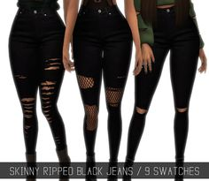 Sims 4 CC's - The Best: SKINNY RIPPED BLACK JEANS by simpliciaty-cc