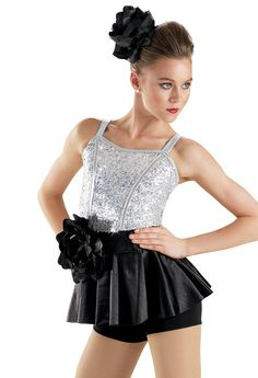 Sequin Peplum Skirt Biketard -Weissman Costumes