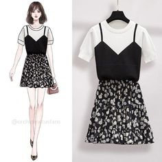 Fashion Drawing Dresses, Korean Fashion Dress, Fashion Dresses, Boyish Style, Casual Jumpsuit, Themed Outfits, Printed Skirts, Aesthetic Clothes, Cool Outfits