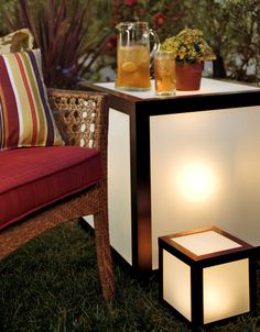 lighted outdoor tables