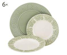 Set da tavola in stoneware verde, 18 pz