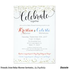 Joint Friends Combined Baby Shower Invitation #babyshowerinvitation #friendsbabyshower #jointbabyshower #customcolors #zazzle #printondemand