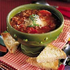 Italian-Style Beef-and-Pepperoni Soup | MyRecipes.com #protein #vegetables #myplate