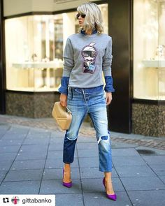 Cool jeans, distressed boyfriend style, the rest of the outfit perfectly matches. - Cool jeans, distressed boyfriend style, the rest of the outfit perfectly matches. Source by manuelagroscurt - Mode Outfits, Fall Outfits, Casual Outfits, Fashion Outfits, Womens Fashion, Fashion Tips, Looks Style, Casual Looks, Polyvore Outfits
