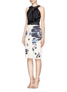 ST. JOHN - Rose blossom print jacquard knit jewel embellished dress | Multi-colour Cocktail Dresses | Womenswear | Lane Crawford